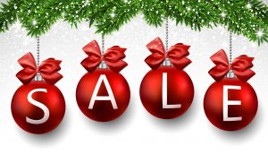 Red sale christmas balls. New year background. Vector.